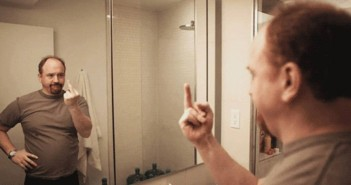 louie TV Louis C.K. bathroom mirror middle finger