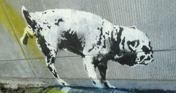 docoBANKSY 2012 graffiti dog peeing on wall