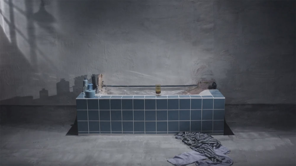 The bigger picture scene with overflowing bath