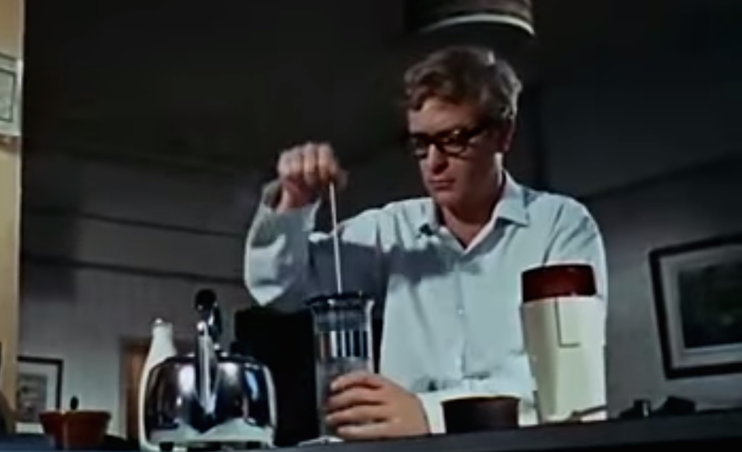 Michael Caine making coffee at the beginning of The Ipcress File